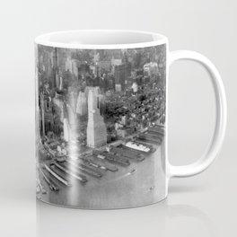 1931 Manhattan, Hudson River, and East River Skyline Aerial black and white photograph Coffee Mug