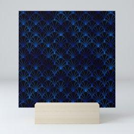 Scallop Shells in Black and Classic Blue Art Deco Vintage Foil Pattern Mini Art Print