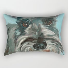 Schnauzer Dog Portrait Rectangular Pillow