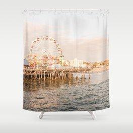 Sunset At Santa Monica Pier Ferris Wheel Photo   Pastel Sky California Beach Art Print   USA Travel Photography Shower Curtain