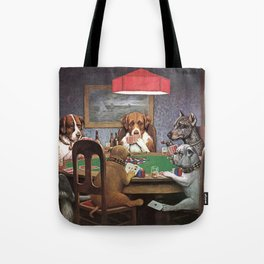 Dogs Playing Poker A Friend in Need Painting Tote Bag