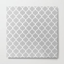 Moroccan Trellis (White & Gray Pattern) Metal Print