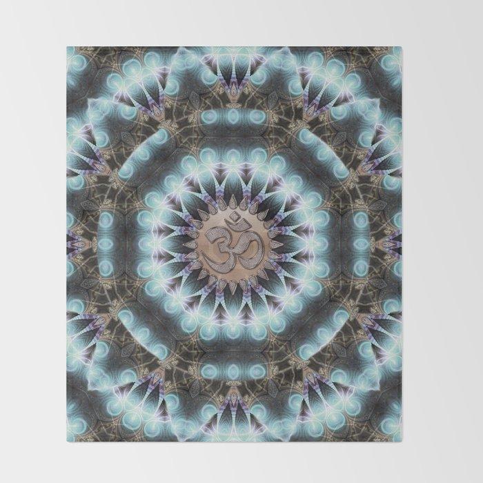 Om Shanti Fractal Geometry [ earthy aqua remix ] Throw Blanket