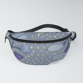 Delicate flora and leaves on golden raindrop pattern Fanny Pack