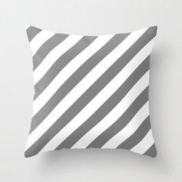 Diagonal Stripes (Gray/White) Throw Pillow