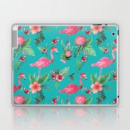 Santa Flamingo Christmas, Holiday Tropical Watercolor Laptop & iPad Skin