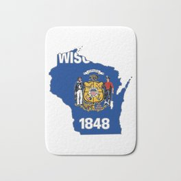 Wisconsin Map with State Flag Bath Mat