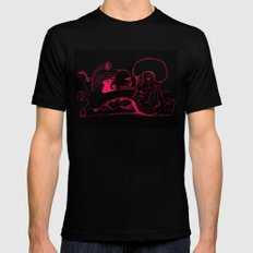 Human body in magenta MEDIUM Black Mens Fitted Tee