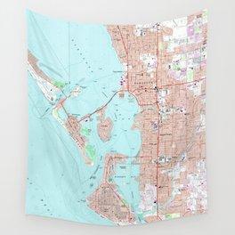 Vintage Map of Sarasota Florida (1973) Wall Tapestry