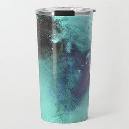 Blue Splash Abstract Watercolor Art Travel Mug