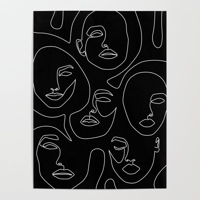 Faces in Dark Poster