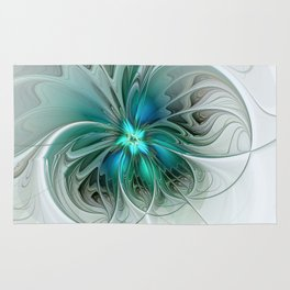 Abstract With Blue, Fractal Art Rug