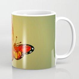 Orange Watercolor Butterfly Design Coffee Mug