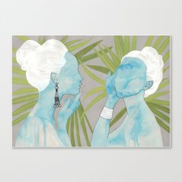 girls with silver jewelry / palmiye II Canvas Print