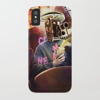 cinema iPhone & iPod Cases featuring Cinema Poster by Bruno Marinho