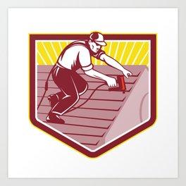 Roofer Roofing Worker Retro Art Print