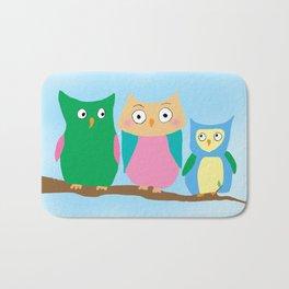 Owl Family Portrait Bath Mat