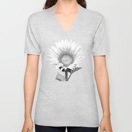 White Sunflower Black Background Unisex V-Neck