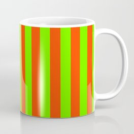 Super Bright Neon Orange and Green Vertical Beach Hut Stripes Coffee Mug