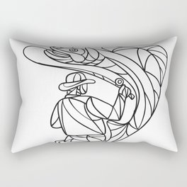 Fly Fisherman Catching Trout Mosaic Black and White Rectangular Pillow