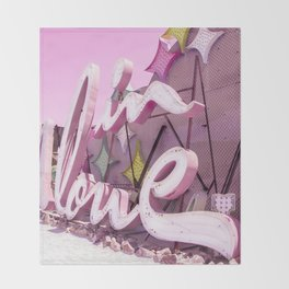 "Pink ""In Love"" Sign at the Neon Museum in Las Vegas, Nevada Throw Blanket"