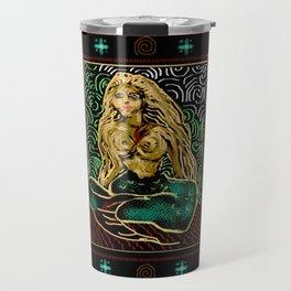Mermaid on red sand Travel Mug