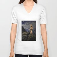 capricorn V-neck T-shirts featuring Capricorn by Viggart