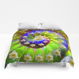 ULTRA VIOLET GREEN GARDEN  SPIRAL &  DAFFODILS ART Comforters