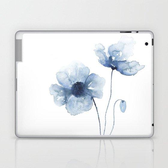 Blue Watercolor Poppies Laptop & iPad Skin