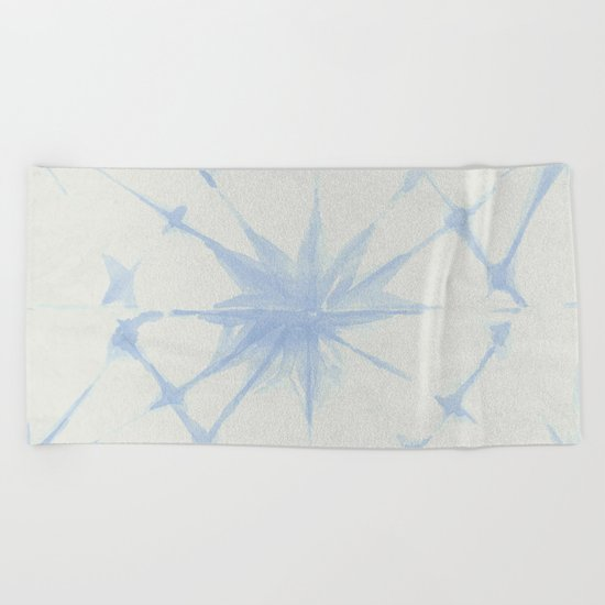 Shibori Starburst Sky Blue on Lunar Gray Beach Towel