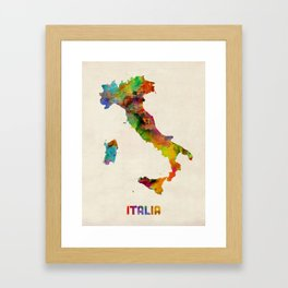 Italy Watercolor Map, Italia Framed Art Print