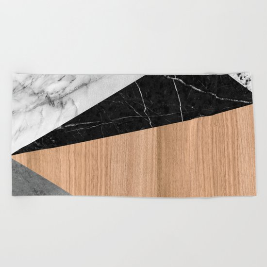 Marble, Garnite, Teak Wood Abstract Beach Towel