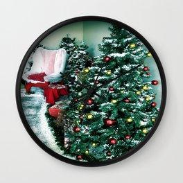 Christmas Tree And Santa Chair Wall Clock