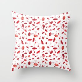 doodle toadstools pattern Throw Pillow