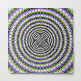 Brain-Buster in Blue Green Pink and Orange Metal Print