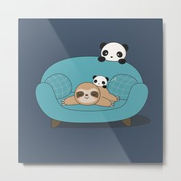 Kawaii Panda and Sloth Metal Print