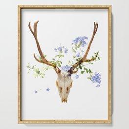 skull, flowers, deer Serving Tray