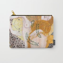 The Mermaids, Water Serpents floral maritime painting by Gustav Klimt Carry-All Pouch