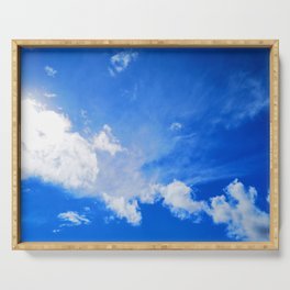 blue cloudy sky std Serving Tray