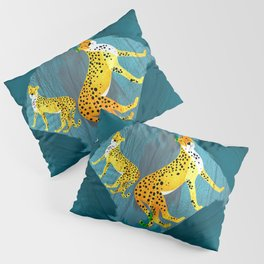Panther Jungle Hideout Teal Pillow Sham