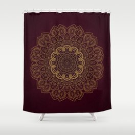 Gold Mandala on Royal Red Background Shower Curtain