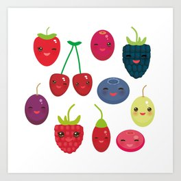 Kawaii Cherry Strawberry Raspberry Blackberry Blueberry Cranberry Cowberry Goji Grape Art Print