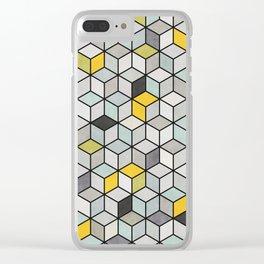 Colorful hexagon concrete cubes Clear iPhone Case