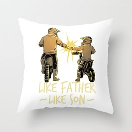 Dad Dirt Bike Out Motocross Gift Father And Son Dirt Bike Design Throw Pillow