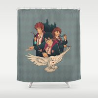 hedwig Shower Curtains featuring Mischief Managed by Nikittysan