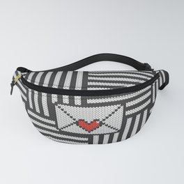 Knitted 8-bit love letter on striped black & white background Fanny Pack
