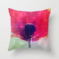 mod Throw Pillows featuring Mod Poppy by V. Sanderson / Chickens in the Trees