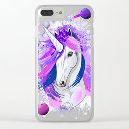 Unicorn Spirit Pink and Purple Mythical Creature Clear iPhone Case