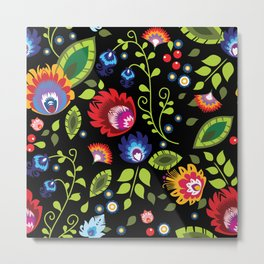 Folklore - multicoloured flowers and leaves Metal Print