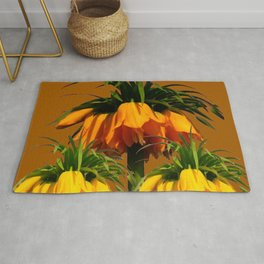 CARAMEL COLOR YELLOW CROWN IMPERIAL FLOWERS Rug